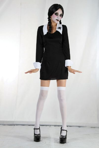 Girls Creepy Schoolgirl Costume Spooky Frightening Scary Halloween Fancy Dress